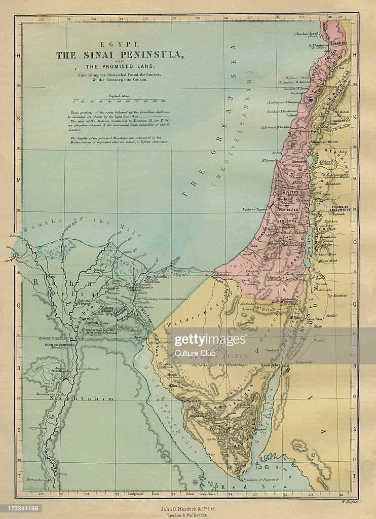 19th century map of the Sinai peninsula illustrating the ...