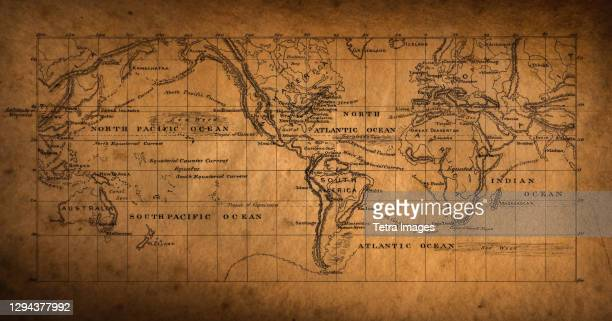 19th century map of the world - the past stock pictures, royalty-free photos & images