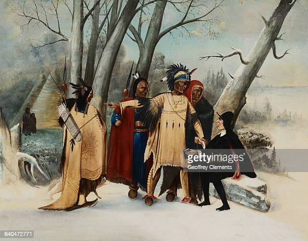 19th Century Painting of Native Americans and Puritan in Village