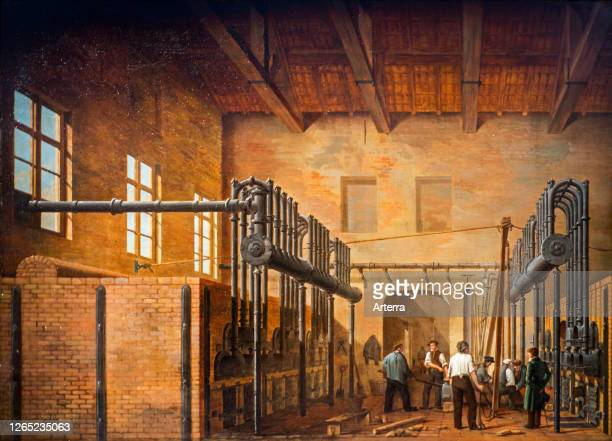 19th century painting showing 1883 gasworks / gas house, industrial plant for the production of flammable gas.