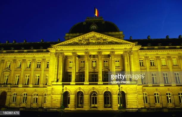 19th century palais royal (royal palace) in brussels at twilight. - royal palace brussels stock pictures, royalty-free photos & images