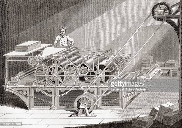 19th century steam printing machine From Old England: A Pictorial Museum, published 1847.