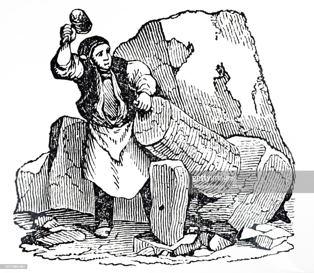 19th century, stone mason using a hammer and chisel to carve