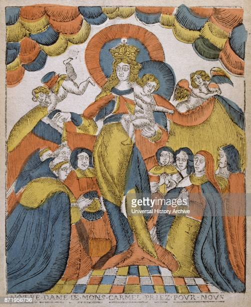 19th century woodcut illustration showing the coronation of the Virgin Mary with Jesus Circa 1810