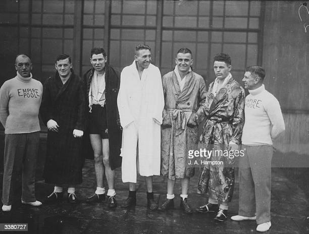 Six promising British heavyweight boxers contestants in a Novices' Competition at Wembley Stadium Middlesex From left to right Ted Husbands George...