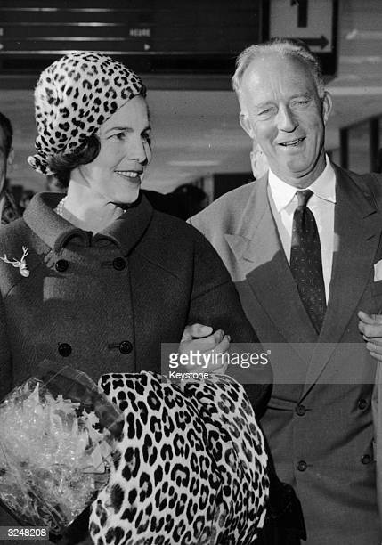 Leopold III former King of Belgium meets his second wife Princess Liliane at Orly airport Paris on his arrival from a trip to Brazil While in Brazil...