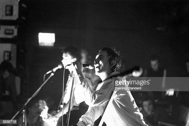 Johnny Rotten lead singer of the British punk band 'The Sex Pistols' at a concert in Brunel University London