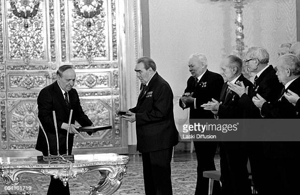 19th DECEMBER 1981: Celebrations of Leonid Brezhnev's 75th birthday in Saint Catherine's Hall at the Great Kremlin Palace, Moscow, USSR, on 19th...