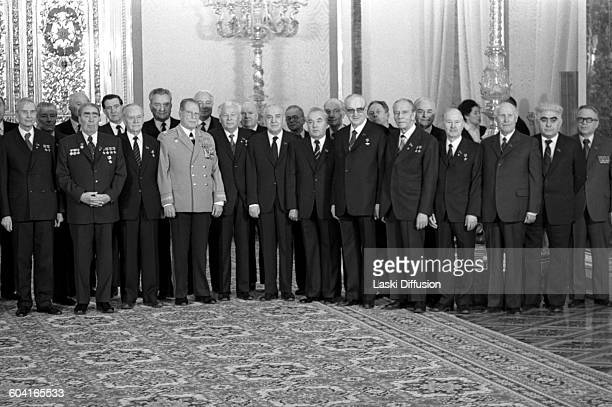 Celebrations of Leonid Brezhnev's 75th birthday in Saint Catherine's Hall at the Great Kremlin Palace Moscow USSR on 19th December 1981 Pictured from...