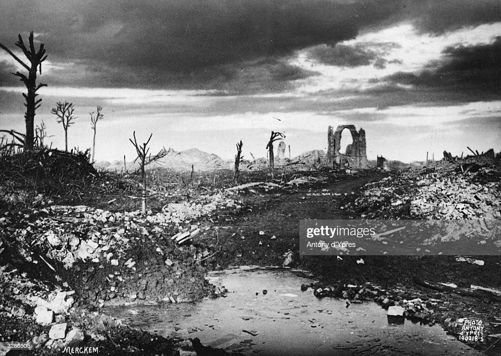 A view of Merckem in Belgium, in ruins after enemy bombardment.