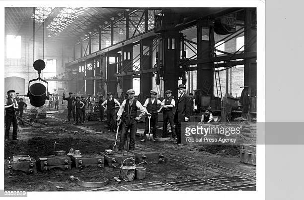 Construction workers at a foundry
