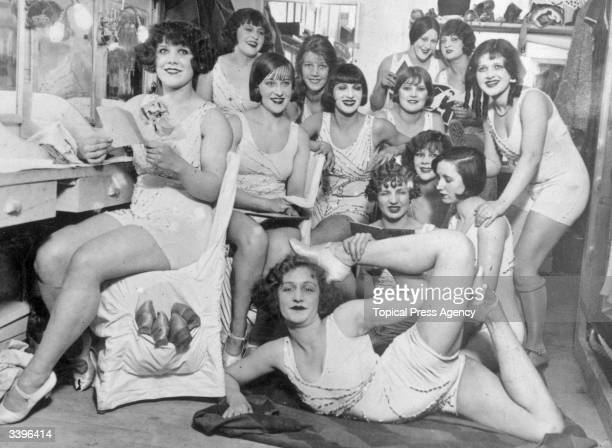 The Hoffman Girls backstage before appearing at the Moulin Rouge in Paris