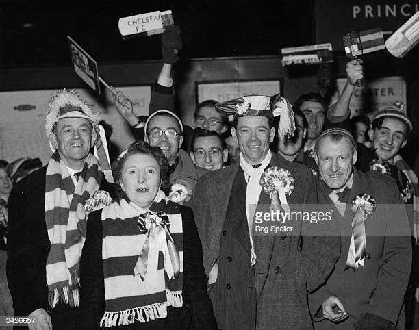Fans of Chelsea Football Club at St Pancras Station London before boarding a train for Nottingham where Chelsea are playing Notts County in the FA Cup