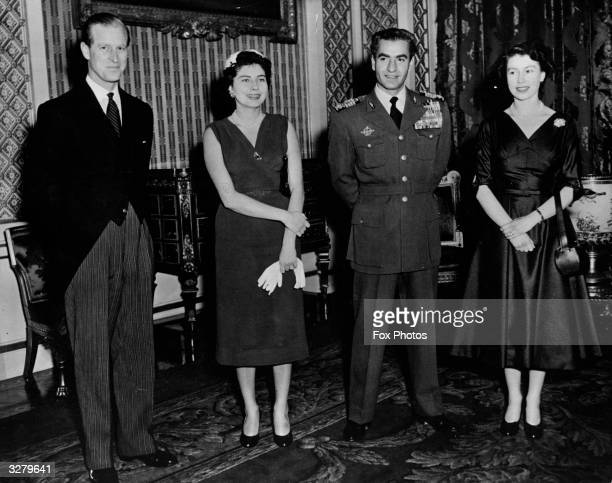 Royal guests at Buckingham Palace From left to right HRH the Duke of Edinburgh Queen Soraya of Persia The Shah of Persia and HM The Queen