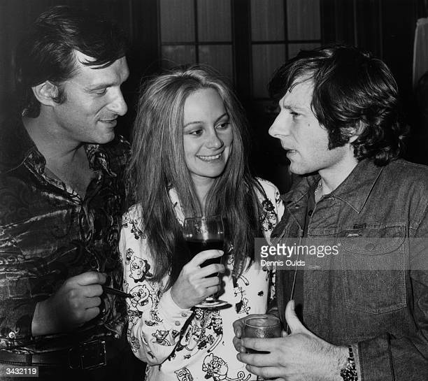 Roman Polanski talking to Hugh Hefner owner of the Playboy empire who has sponsored his latest film 'Macbeth' which stars Francesca Annis