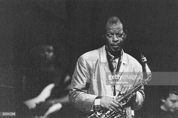 American alto saxophonist Ornette Coleman perspires heavily during a performance for the JVC Jazz Festival Carnegie Hall New York City Coleman holds...