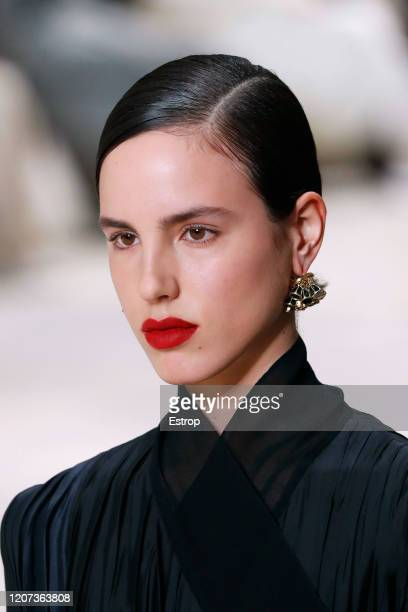 19th: Headshot detail during the Jil Sander fashion show as part of Milan Fashion Week Fall/Winter 2020-2021 on February 19, 2020 in Milan, Italy.