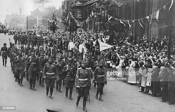 The Serbian contingent marching in the Peace Day parade in London On Peace Day the great war leaders such as Ferdinand Foch and Douglas Haig rode at...
