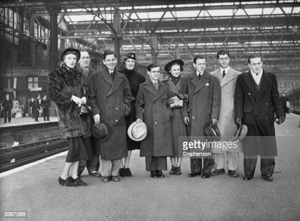 The US table tennis team on arrival at Waterloo Station London for the world championships at the Royal Albert Hall