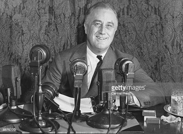 United States president Franklin Delano Roosevelt addressing a press conference