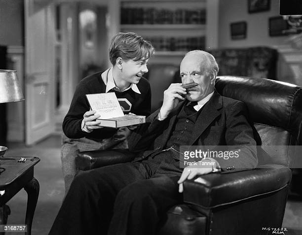 Mickey Rooney and Lewis Stone in a scene from one of the many films based around the character Andy Hardy
