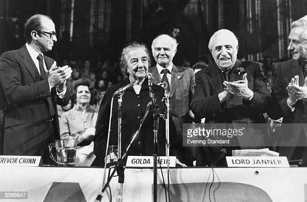 Golda Meir former Israeli premier and a founder of the state of Israel standing to speak at a rally in the Royal Albert Hall London