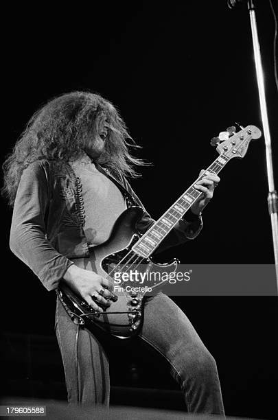 Bass guitarist Glenn Hughes from rock group Trapeze performs live on stage at the Rainbow in London on 19th January 1973