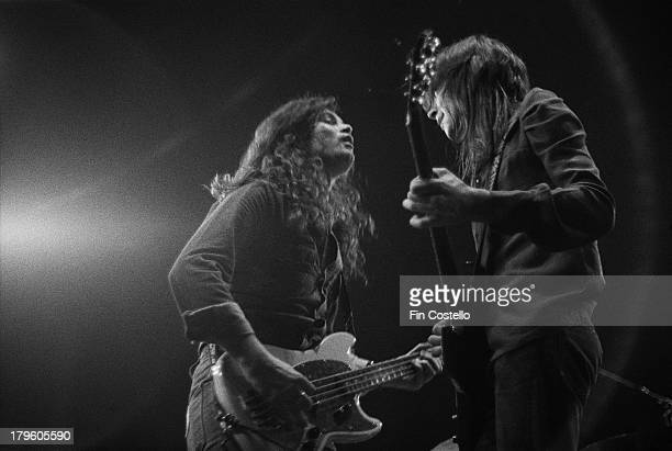 Guitarist Mel Galley and bassist Glenn Hughes from rock group Trapeze perform live on stage at the Rainbow in London on 19th January 1973
