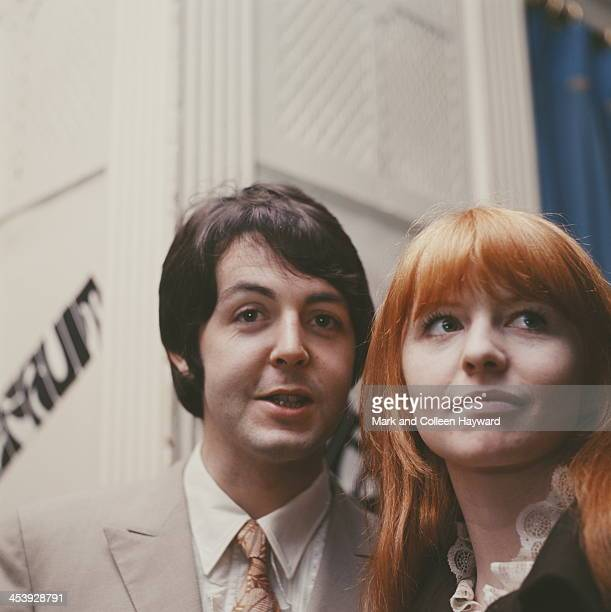 Paul McCartney from The Beatles and Jane Asher posed in London on 19th January 1968