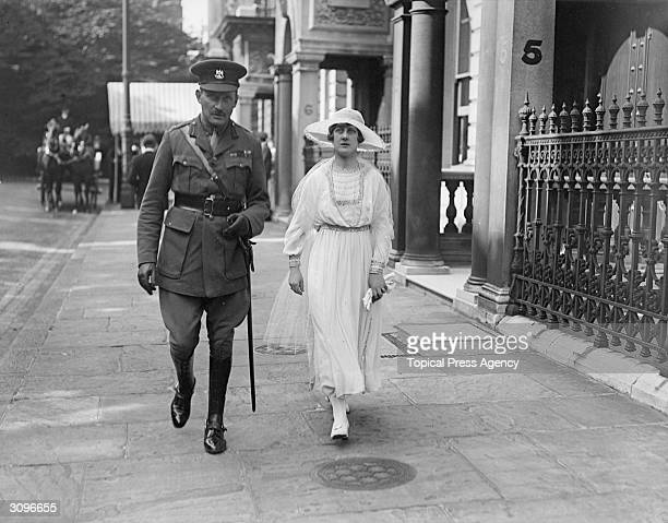Prince Arthur of Connaught and his wife Princess Alexandra attending the wedding of the Marquis of Carisbrooke and Lady Irene Denison