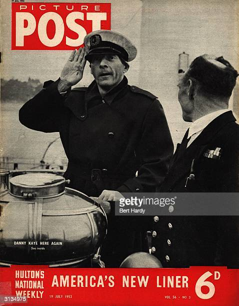 American film star and comedian Danny Kaye taking the salute as a 'naval officer'while on a visit to Cardiff Original Publication Picture Post Cover...