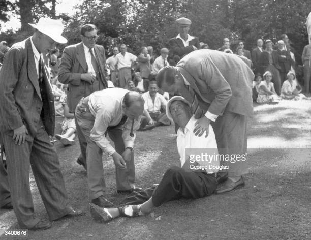 Fred Daly the 1947 Open Championship winner, at Wentworth golf course, Virginia Water, Surrey. Original Publication: Picture Post - 5967 - Pros...