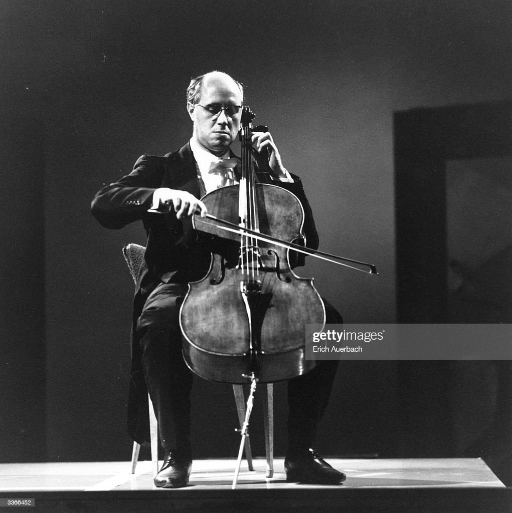 Russian cellist, pianist and conductor Mstislav Rostropovich playing the cello at the Riverside in London.