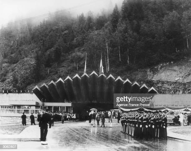 The opening ceremony at Chamonix France of the seven mile tunnel under Mont Blanc