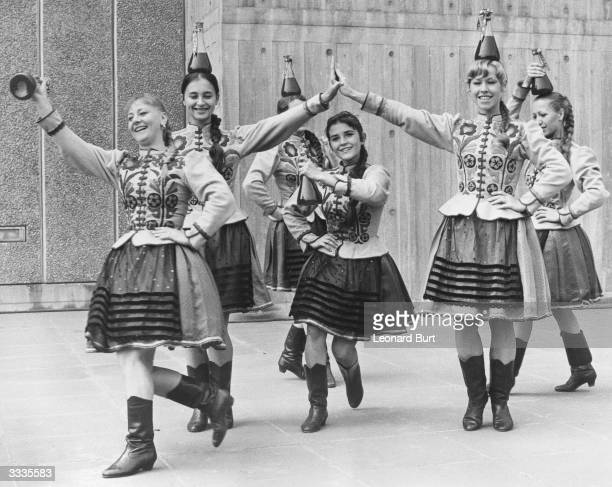 Dancers from the Hungarian Gipsy Company rehearsing their bottle dance in preparation for their performance at The Queen Elizabeth Hall in London