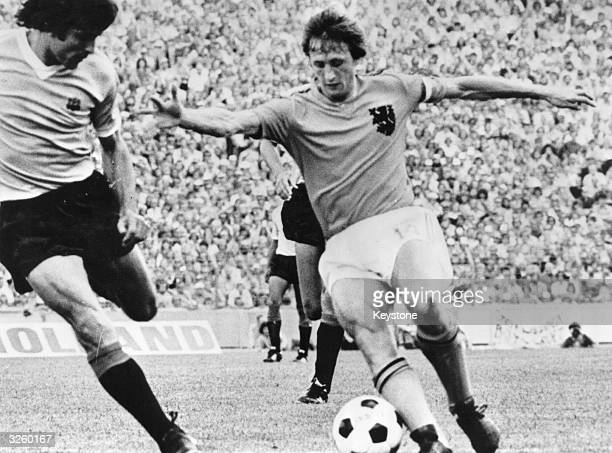 Johan Cruyff Dutch footballer in action against Uruguay