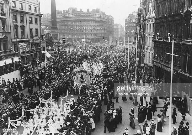 A Suffragette demonstration taking place in Cockspur Street near Trafalgar Square London