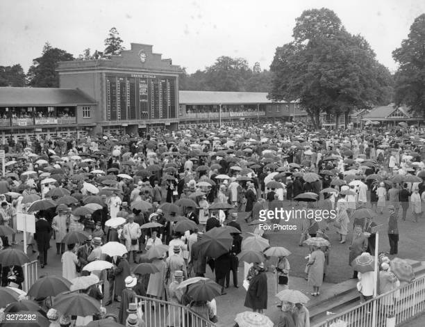Crowds with their umbrellas thronging the area near the unsaddling enclosure at Ascot.