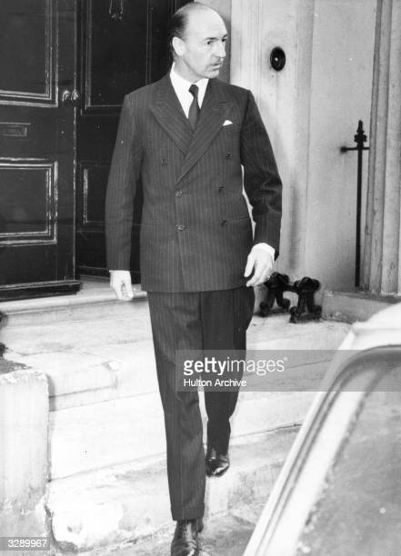John Profumo War Minister who resigned after disclosure of his affair with Christine Keeler seen leaving his London home