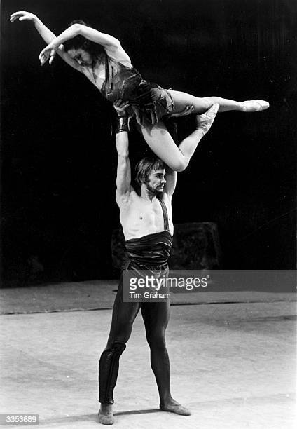 Russian ballet dancer Vladimir Vasiliev lifts Ekaterina Maximova in the Bolshoi Ballet's production of 'Spartacus'.