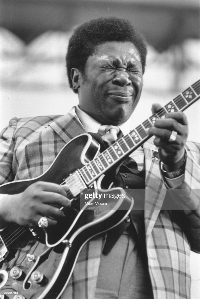 American blues singer and guitarist B B King in performance.