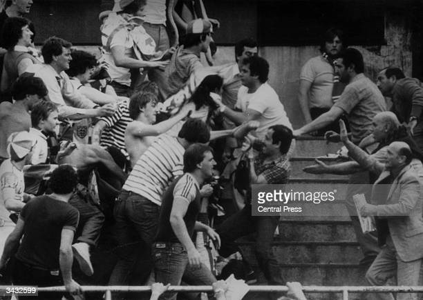 English fight rival supporters at a football match in Turin during a European Nations Cup Competition