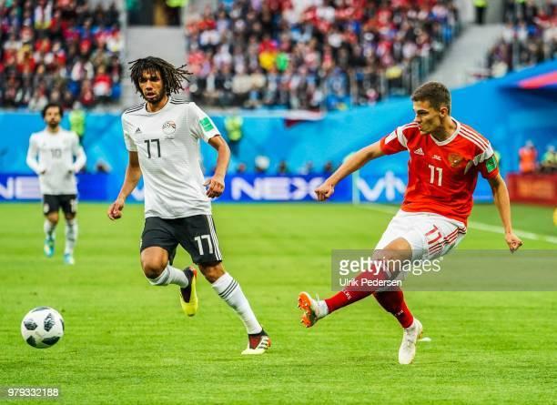 19th June 2018 SaintPetersburg Stadium Saint Petersburg Russia FIFA World Cup Football Group A Russia versus Egypt Roman Zobnin of Russia passing the...