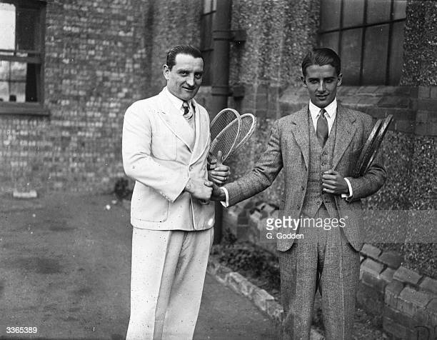 R Rodel captain of the Paris team meets Bunny Austin captain of the London team for the tennis tournament between London and Paris at the Dulwich...