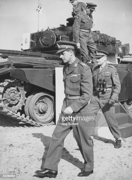 The Duke of Edinburgh during his inspection of tanks on the first day of his visit to the Germany's British Zone