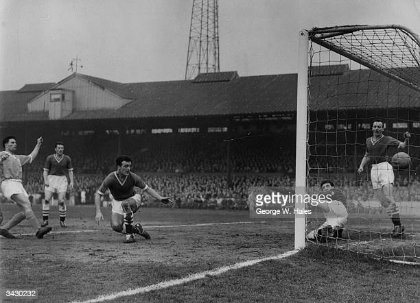 Chelsea players John Sillett Reginald Matthews and Ron Tindall watch as Kaye scores for Blackpool