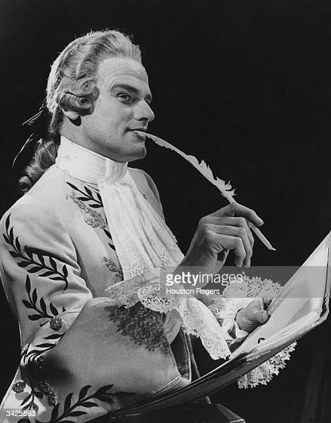 Actor Keith Michell as the Vicomte de Valmont during rehearsals for a Royal Shakespeare Company's production of 'The Art of Seduction' at the Aldwych...