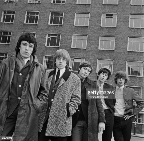 British rhythm and blues group The Rolling Stones in London From left to right Bill Wyman Brian Jones Charlie Watts Keith Richards and Mick Jagger
