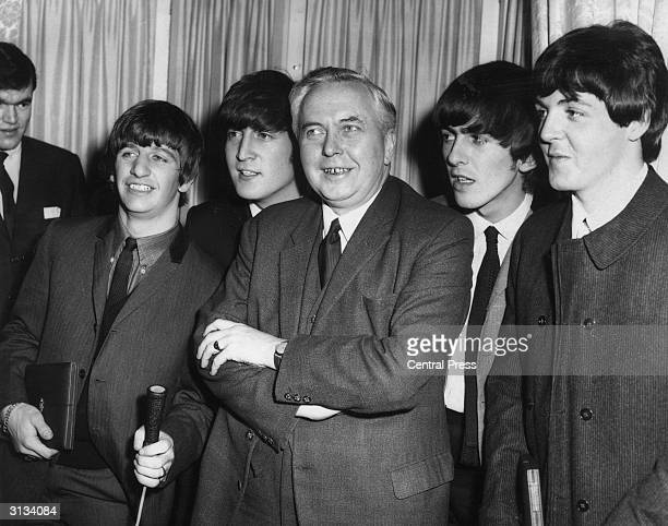 Labour party leader Harold Wilson with the Beatles at the Variety Club Awards luncheon at the Dorchester Hotel London