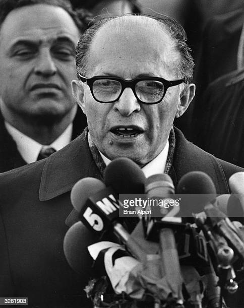 Israeli statesman Menachem Begin at John F Kennedy Airport, New York. Born in Poland, he became Prime Minister of Israel from 1977 until his...